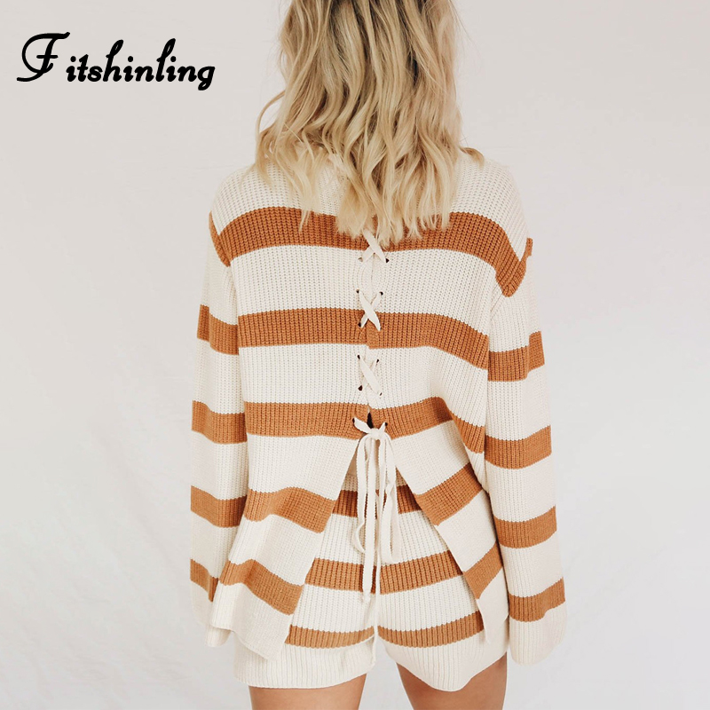 Fitshinling Holiday Lace Up Women Two Piece Outfits Sweaters And Shorts Matching Sets Knitted Slim Autumn Fashion Female Suits