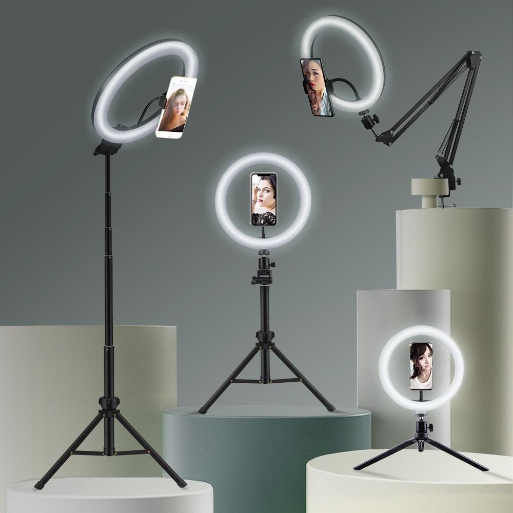 Selfie ring light fotografía luz led borde de lámpara con soporte - Cámara y foto - foto 1