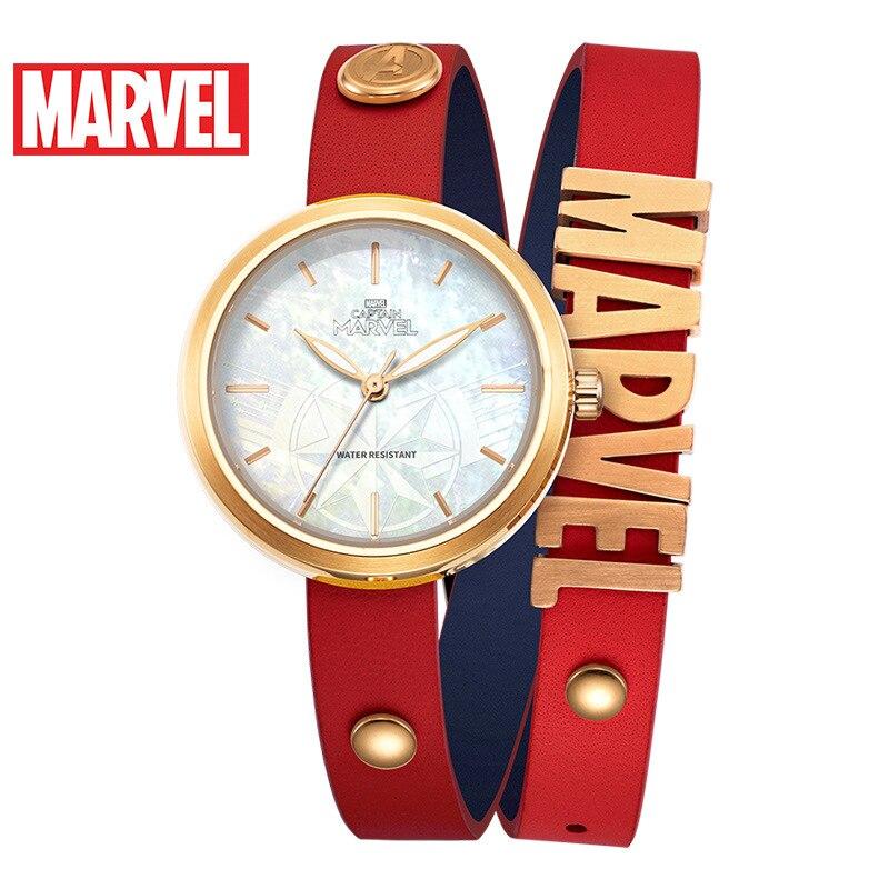 Relógio de Pulso de Quartzo Relógio de Moda Resistente à Água Disney Marvel Capitão Tendência Herói Pulseira Relógio Senhoras 3bar