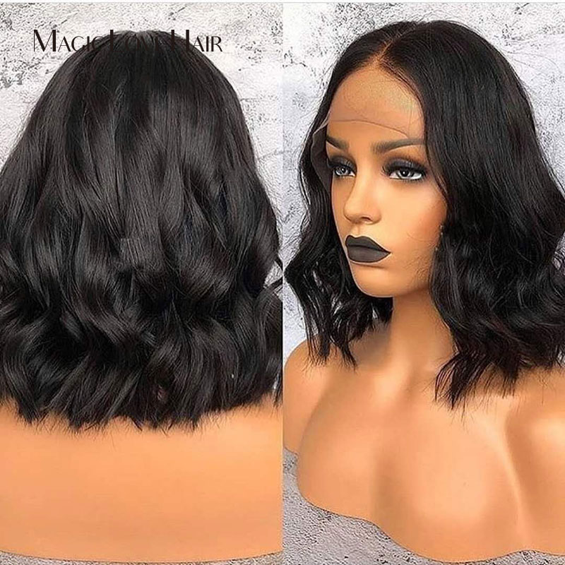 Magic Love Short Bob Lace Front Wigs Human Hair Natural Wave Remy Natural Black Pre Plucked For Black Women