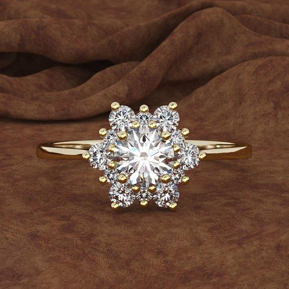 Роскошное женское кольцо-Снежинка, модное винтажное обручальное кольцо из серебра 925 пробы, желтого, розового золота с кристаллами и циркон...