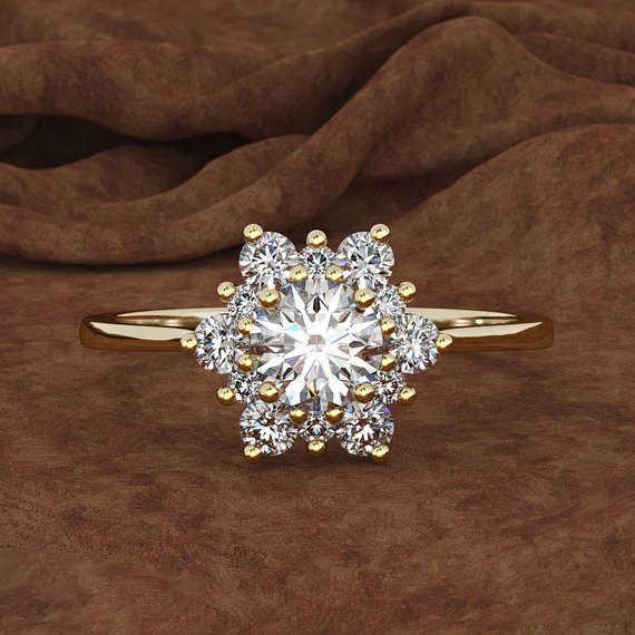 Luxus Weibliche Schneeflocke Ring Mode 925 Silber Gelb Rose Gold Farbe Kristall Zirkon Stein Ring Vintage Hochzeit Ringe Für Frauen