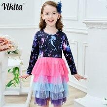 цена на VIKITA Girls Tutu Dress Kids Long Sleeve Dress Girls Party Princess Dresses Children Cartoon Print Unicorn Vestidos RELH4593