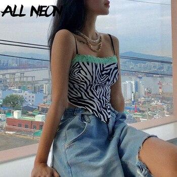 ALLNeon Y2K Fashion Zebra Pattern Spaghetti Strap Crop Tops E-girl Animal Print Lace Trim Cami Top Autumn Streetwear 90s Party palm leaf print ladder strap side racer cami top