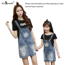 Summer New Parent-child Suit Denim Skirt One-piece Girls Jumpsuit Loose Casual Combination Hot Free Shipping