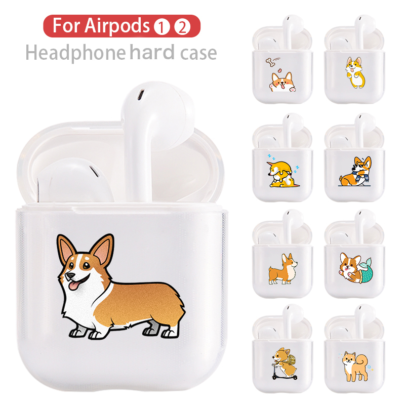 Hard Clear Headphone Case For Apple Airpods 1 Case Luxury Pets Corgi Dog Transparent Air Pods Case For Airpods 2 Protective Cove