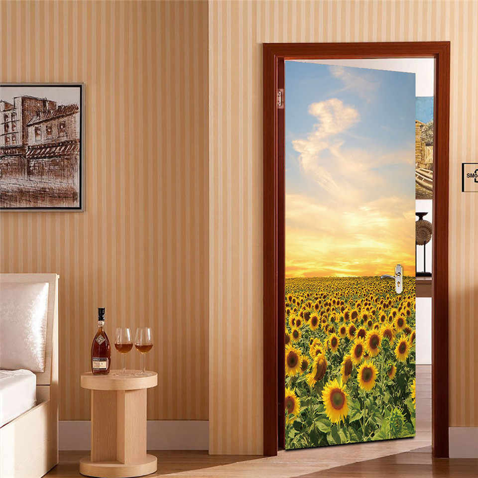Sunflower Stickers On The Doors Diy Peel And Stick Wallpaper Landscape Vinyl Waterproof Removable Poster Home Design Deursticker Aliexpress
