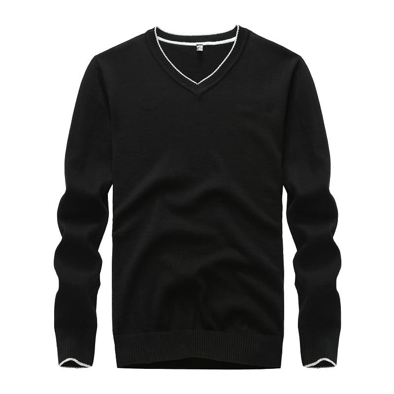 colegio Pensionista Específicamente  Suéter de algodón para hombre, jersey negro liso, suéter de punto con  cuello de pico para hombre, suéter amarillo en 5 colores para  invierno|Jerséis| - AliExpress