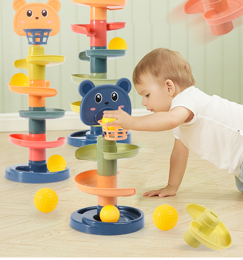 Children's toy rolling ball pile tower early education educational toy rotating track educational baby toy gift