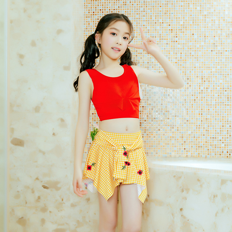 Korean-style Swimsuit GIRL'S Split Type Two-Piece Set Cute Hipster Slimming Conservative Bubble Hot Spring Beach Holiday Swimwea