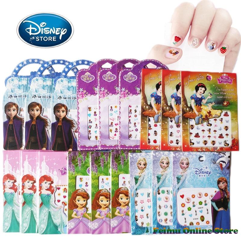 5Pcs/set Disney Princess Girl Frozen 2 Elsa Anna Make-Up Toys Nail Stickers Snow White Sophia Mickey Kids Sticker Toy Party Gift