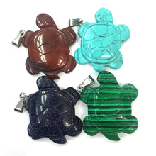 Turtle-Shaped Semi-Precious Stones Natural Pendant Charm For Jewelry Making Necklace Accessories GIft For Women Size 35x40mm
