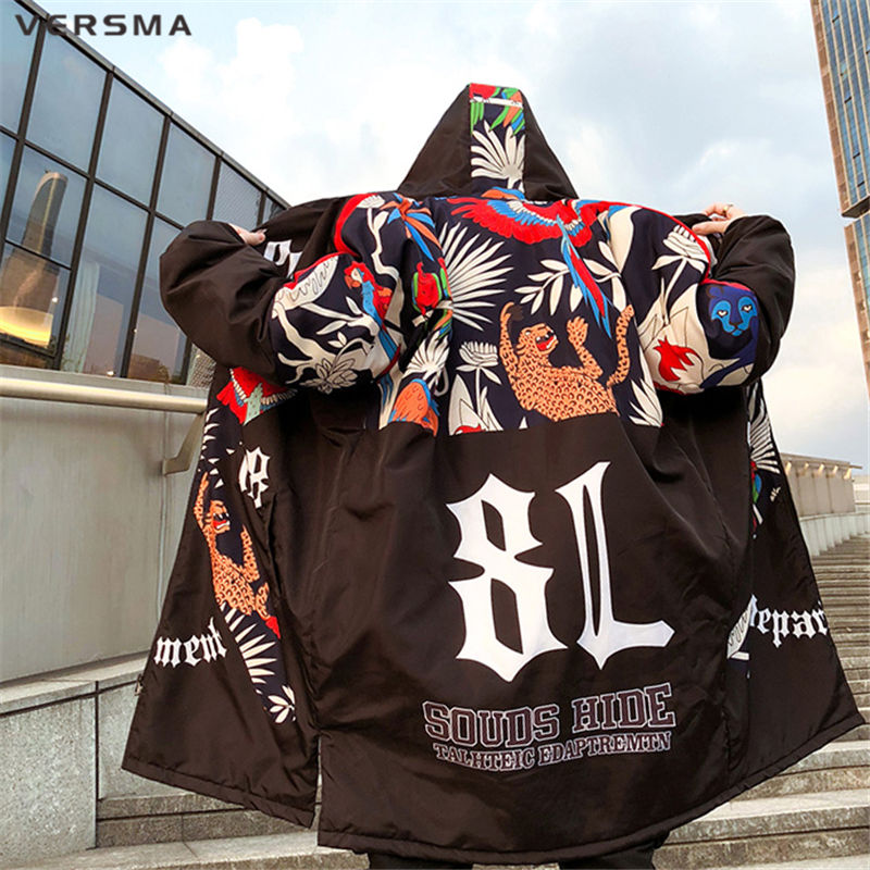 VERSMA Japanese Harajuku Graffiti Print Mens Long Winter Jackets Parkas Men Winter Hooded Hip Hop Warm Jacket Coat Dropshipping