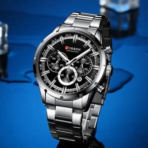 Image 4 - Curren luxo moda quartzo relógios clássico prata e preto relógio masculino relógio de pulso masculino com calendário cronógrafo