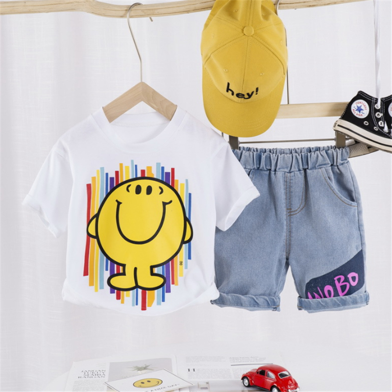 unisex <font><b>baby</b></font> clothes <font><b>set</b></font> summer outfits for <font><b>baby</b></font> girl boy tops cotton <font><b>tshirt</b></font> white jean shorts two piece <font><b>sets</b></font> clothing toddler image
