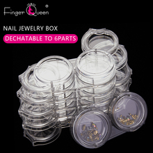 Box Manicure-Storage-Box Nail-Accessories-Tools 6-Layers Removable Zircon Transparent