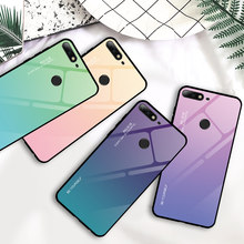 Tempered Glass Case for Honor 8X Max 8A 7C 7A Gradient Case for Huawei Honor 9 10 20 Lite 10i 20i Note 10 View 20 Cover Case(China)