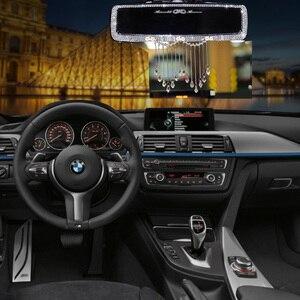 Image 3 - Criativo strass borlas interior do carro espelho retrovisor decoração charme flor cristal espelho traseiro ornamentos acessórios do carro