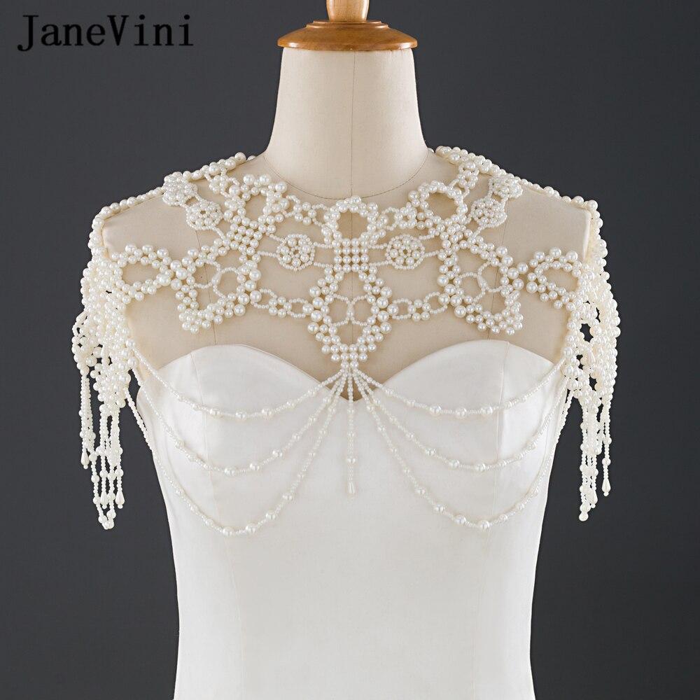 JaneVini nouveau élégant Imitation perle de mariage épaule chaîne colliers à la main mode mariée colliers formelle fête accessoires