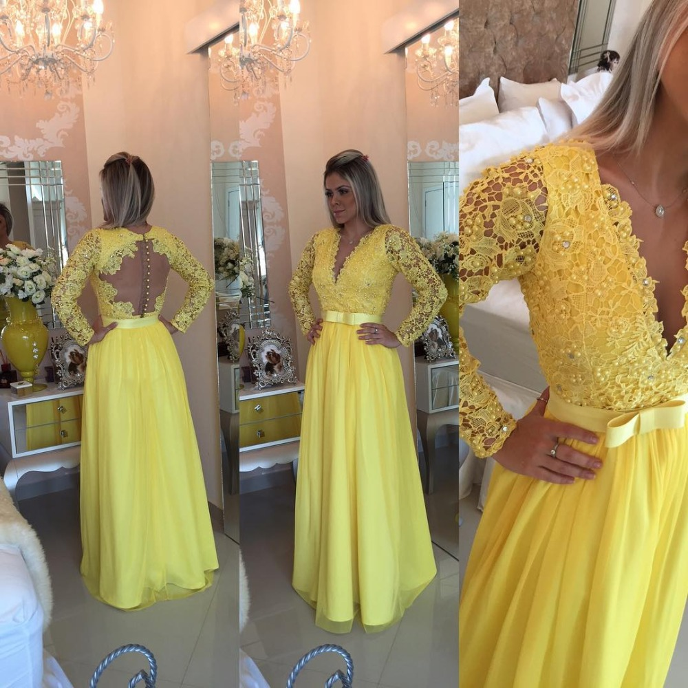 Beautiful Yellow Long Sleeves Prom 2018 Pearl Beading Lace Floor Length Prom Vestido De Festa Longo Mother Of The Bride Dresses