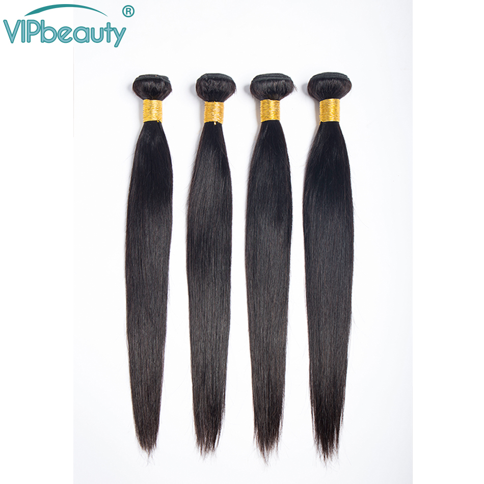 VIP Beauty Malaysian Straight Hair 4 Bundles 100% Human Hair Weave Remy Hair Extension Natural Black Color Hair Weft-in 3/4 Bundles from Hair Extensions & Wigs    1