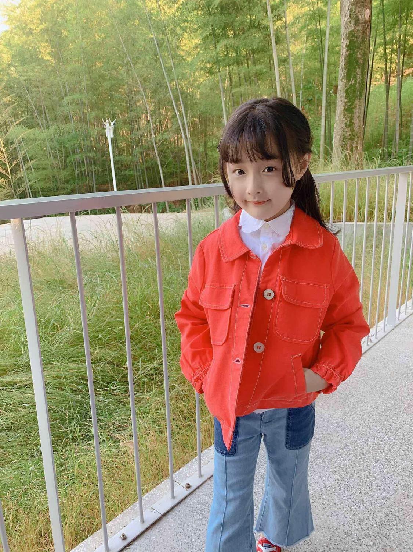 Filles veste solide couleur orange mignon bambin filles vêtements d'extérieur enfants hauts pour filles