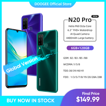 DOOGEE N20 Pro Quad Camera Mobile Phones Helio P60 Octa Core 6GB RAM 128GB ROM Global Version 6.3
