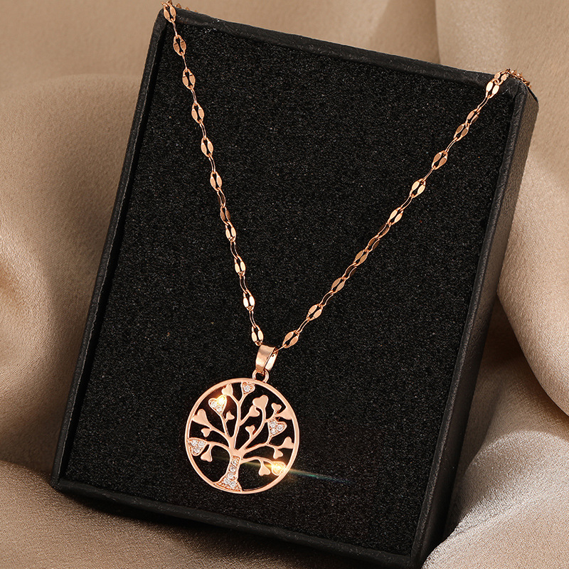 2020 new ins fortune tree round brand pendant necklace titanium steel women's glass drill shiny money tree clavicle chain