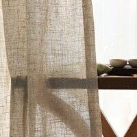 Cortina de ramio semisombreada de lino moderna hilo de cáñamo nórdico de estilo chino, cortina de lino y algodón de color puro, hilo de cortina de gasa personalizado