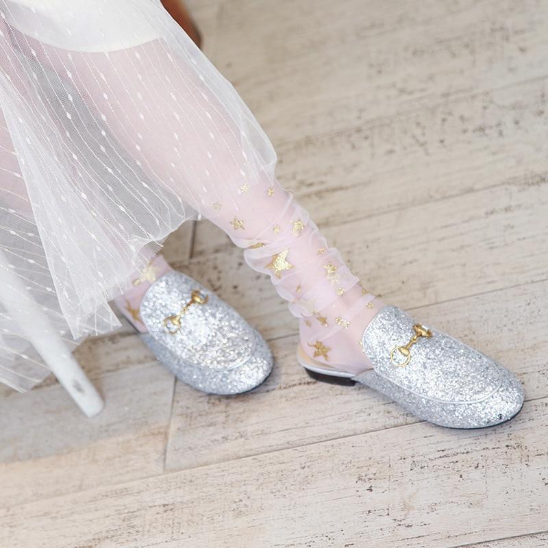 Socks New Summer Fashion Multi Color Glitter Thin Mesh Tulle Socks Transparent Ultra Thin Fishnet Star Hosiery Socks Women Sock in Socks from Underwear Sleepwears