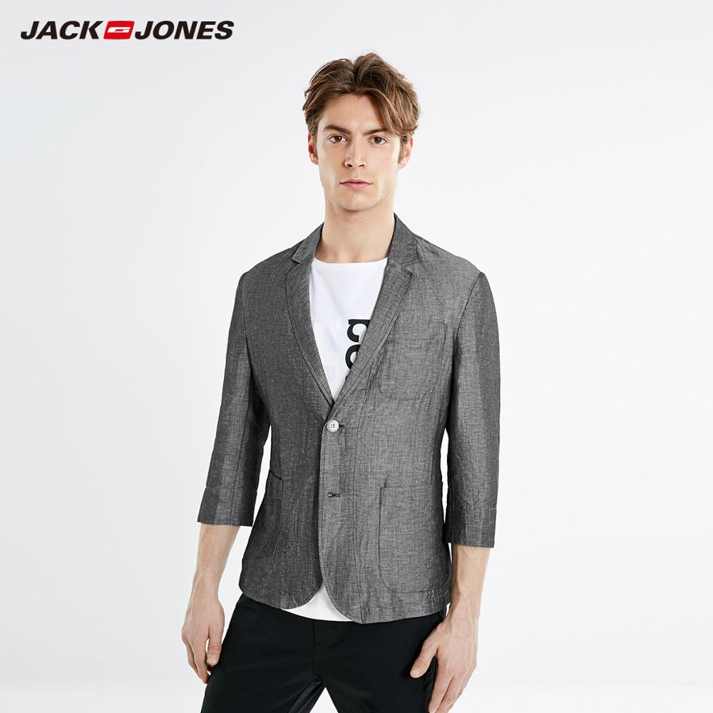JackJones Men's Cotton Linen Notched Collar 3/4 Sleeves Blazer|Basic Suit Jacket 21928P503