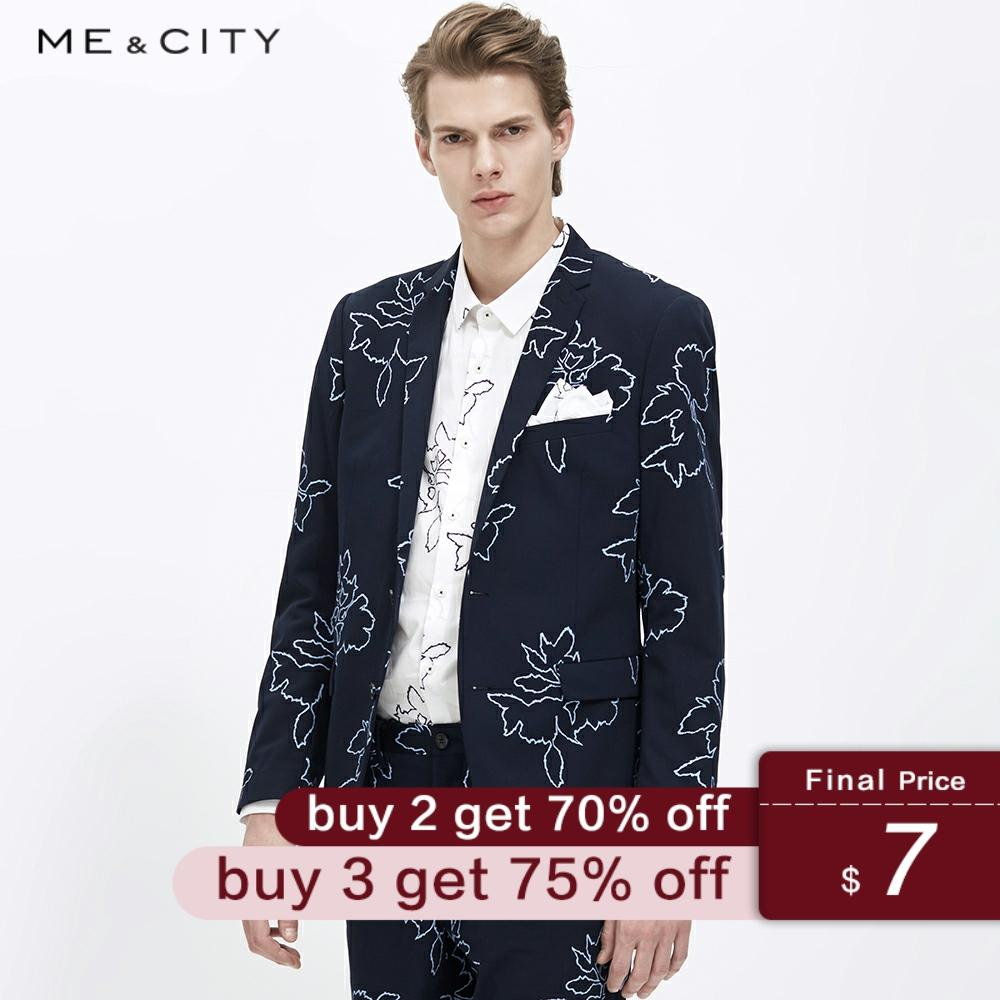 Me&City Mens Fashion Printing Personality Blazer Brand Business Blazer Tide Design Casual Male Smart Suit Jacket