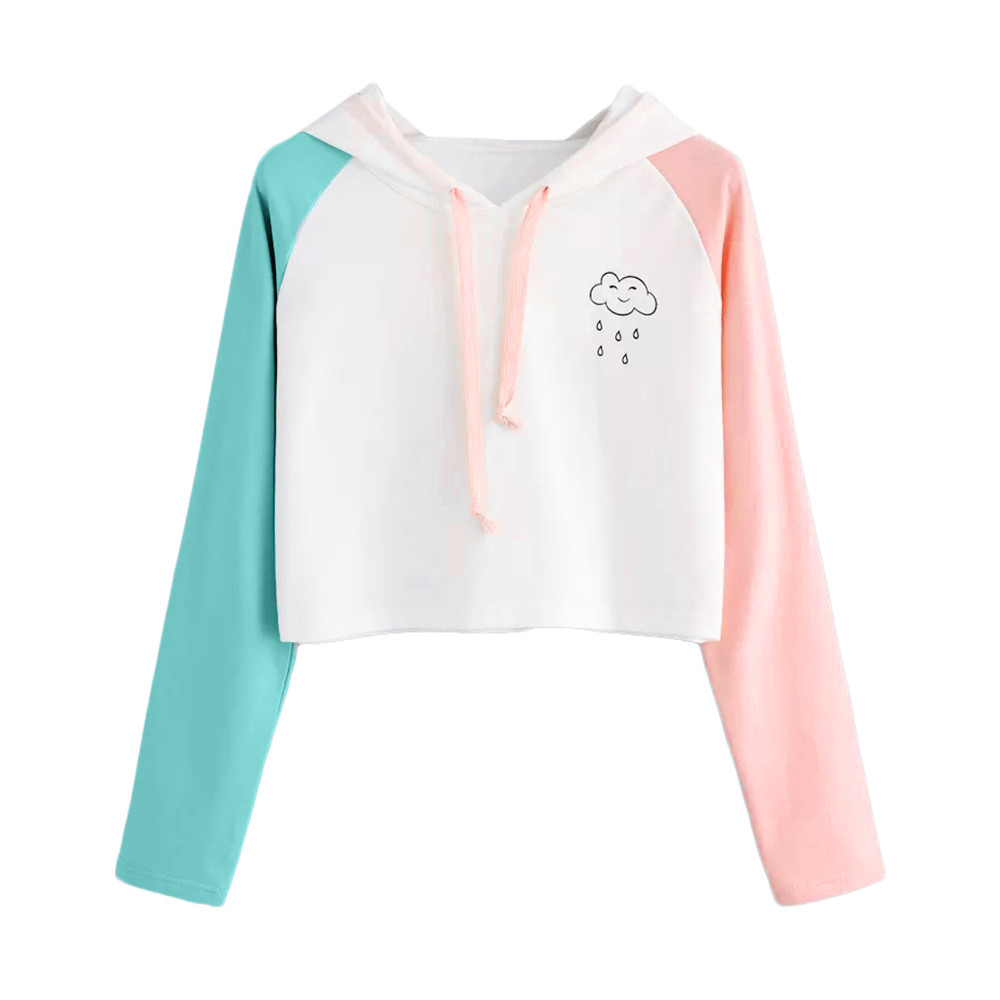 JAYCOSIN Fashion Women Casual Simple Sweatshirt White Cloud Printing Long Sleeve Solid Color Comfortable Soft Short Tops Blouse