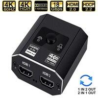 2021 beste HDMI Switcher 4K Bi-Richtung 2,0 HDMI Schalter 1x 2/2x1 Adapter 2 in 1 heraus Konverter für PS4 PS5 TV Box HDMI Splitter