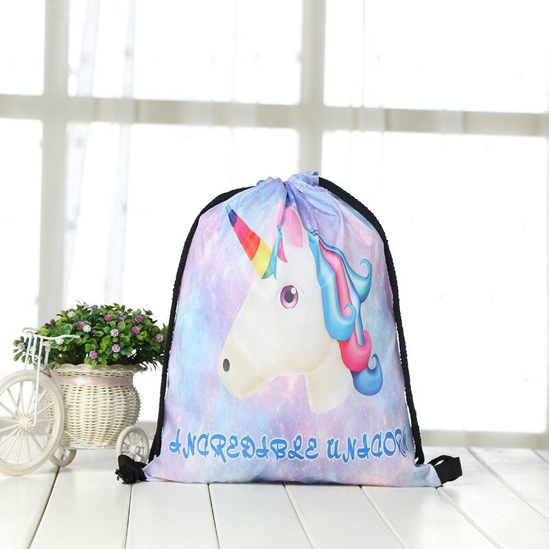 2019 Bunches Bags Drawstring Backpack Fashion Women Printing Travel Softback Men Unicorn Drawstring Bags Unisex Casual Shoulder