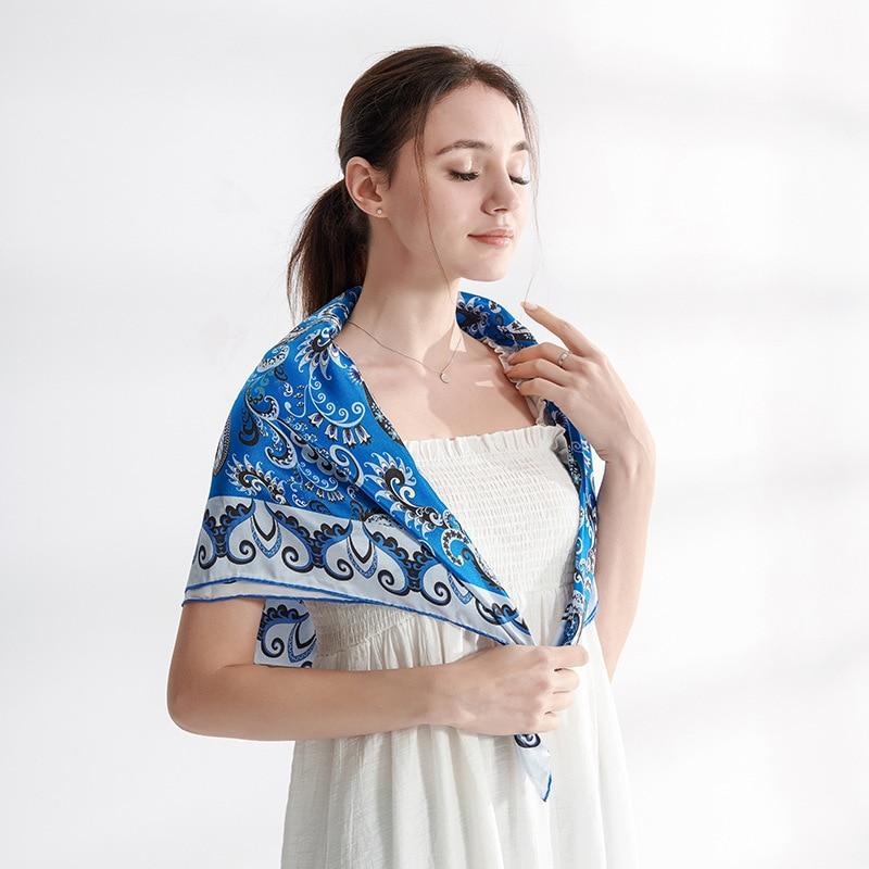 New Style Silk Scarf/scarf Blue Cashew Heavy Weight Silk Silk Scarf/big Shawl