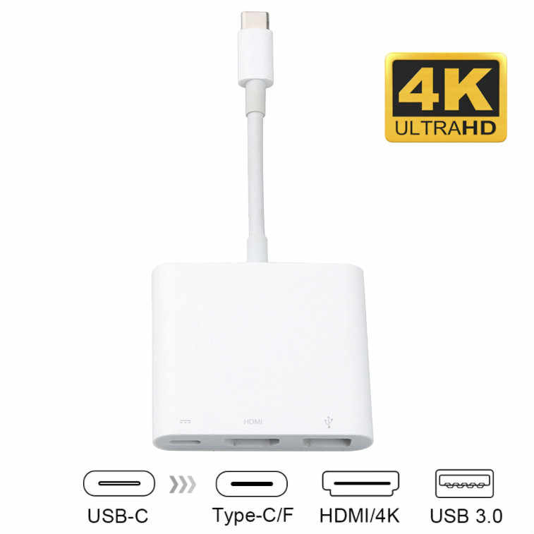 Type-C USB C To HDMI USB 3.1 Type C Multifunction Adapter Cable Male To Female Charging Converter Digital AV Multiport