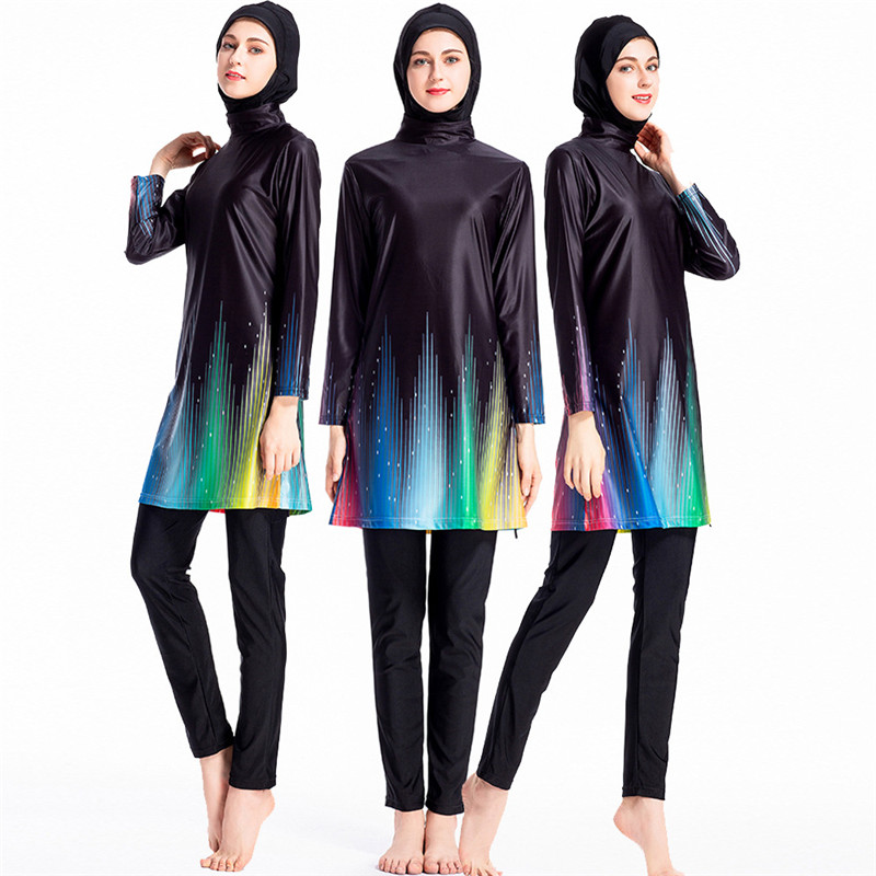 New Burkini Suit Sunscreen Islamic Swimwear Patchwork Muslim Swimming Suit For Women Sport Burkinis Swim Surf Wear Bourkini in Muslim Swimwear from Sports Entertainment