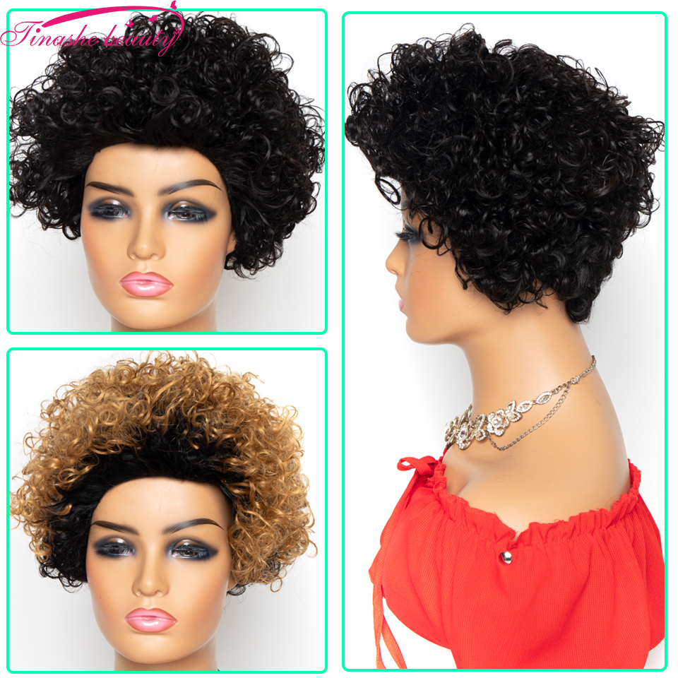 Tinashe Beauty Short Loose Curly Human Hair Wigs Peruvian Remy Hair Curly Wave Bob For Black Wome Machine Made Wig Corful Color