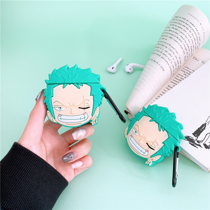 Japan Anime Zoro For AirPods 2 1 Apple <font><b>Case</b></font> One Piece Protective Cover Cute <font><b>Bluetooth</b></font> Earphone Cover Soft Silicone <font><b>Headset</b></font> <font><b>Cases</b></font> image
