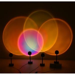 Радужный проектор Sunset светильник с Usb, светодиодная настольная лампа, Проекционные светодиодные лампы для спальни, кофе, украшение для стен, атмосферсветильник щение