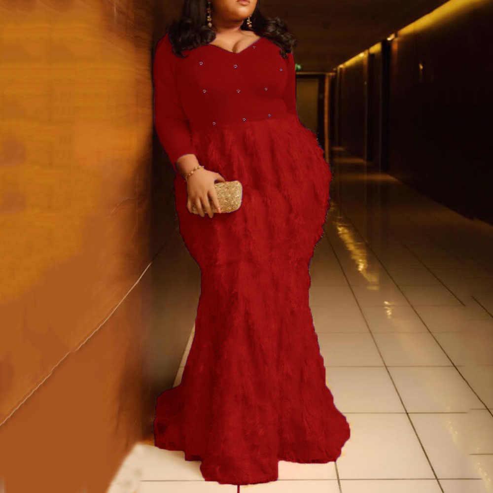 Gelb Lange Meerjungfrau Party Club Kleid Frauen Herbst Afrikanische Weibliche Feder Trompete Maxi Kleider Robe 2019 Plus Größe 5xl Vestiods