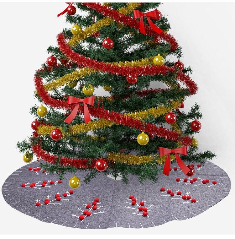 Christmas Tree Skirt Floor Mat Xmas Tree Apron Base Stands Triple Layer 120cm
