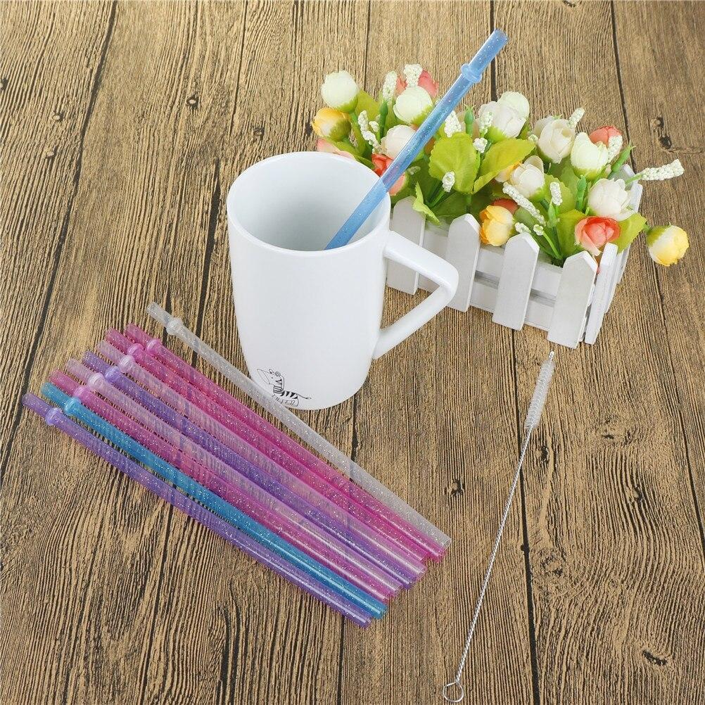 25 шт./компл. многоразовые одноразовые цветные напитки жесткие пластиковые полосатые соломинки для питья