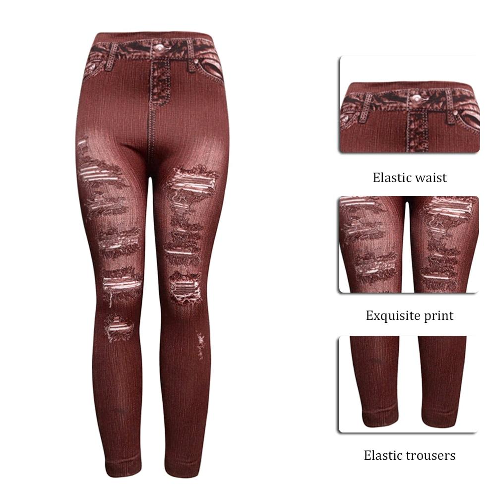 Women High Waist Ripped Stretch Elastic Pants Skinny Jeans Denim Jegging Leggins