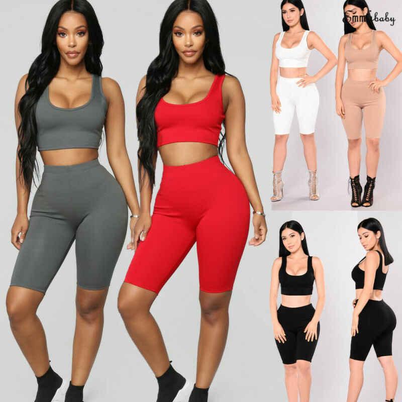 Hirigin 2 adet moda kadın spor elbise mahsul Tops + şort Yoga egzersiz kıyafetleri eşofman iki parçalı kıyafet katı spor