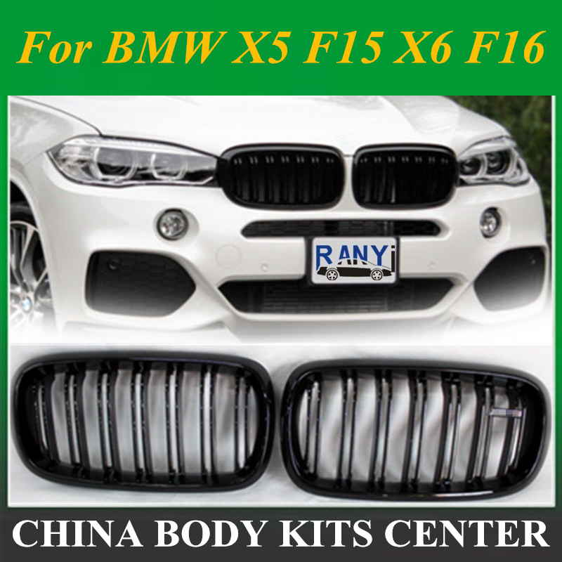 2 x Gloss Black Dual Slats Front Kidney Sport Grill Grille for BMW F15 X5 F16 X6