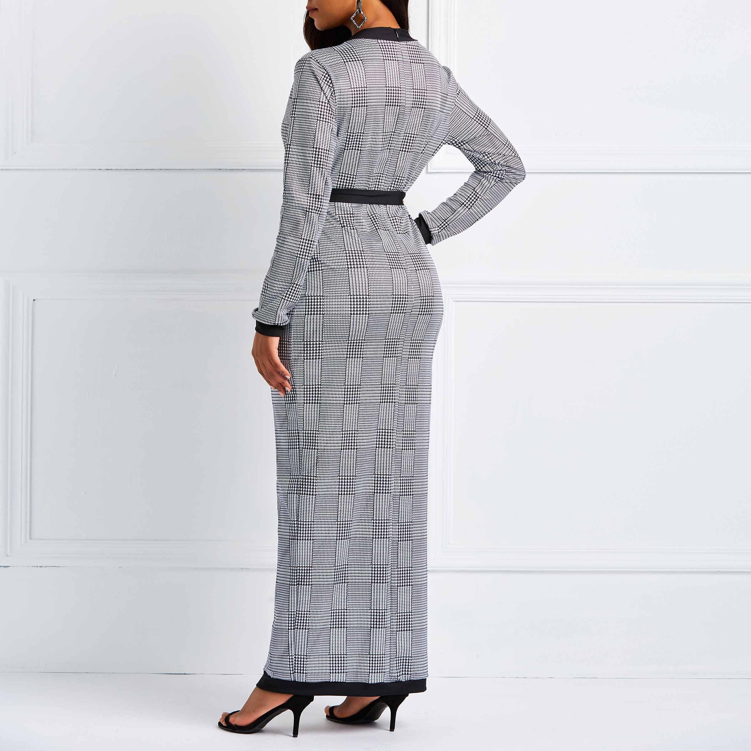 Elegante Partij Elegante Retro Office Lady Vrouwen Lange Potlood Jurken Casual Lace Up Pocket Split Grijs Strand Vrouwelijke Mode Jurk - 3