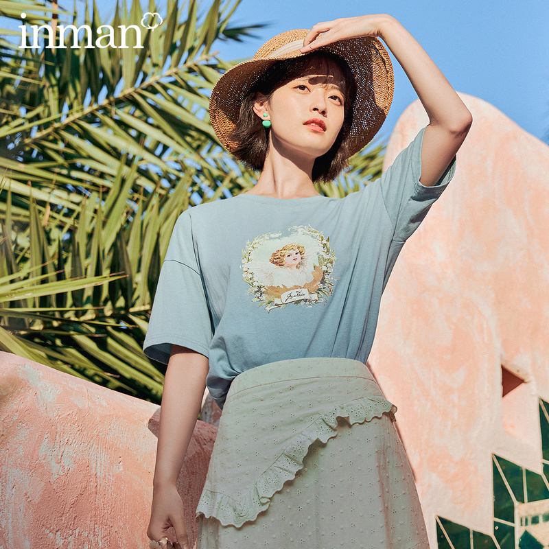 INMAN 2020 Summer New Arrival Print Loose Lazy Cotton Fresh Ventilate Short Sleeve T-shirt