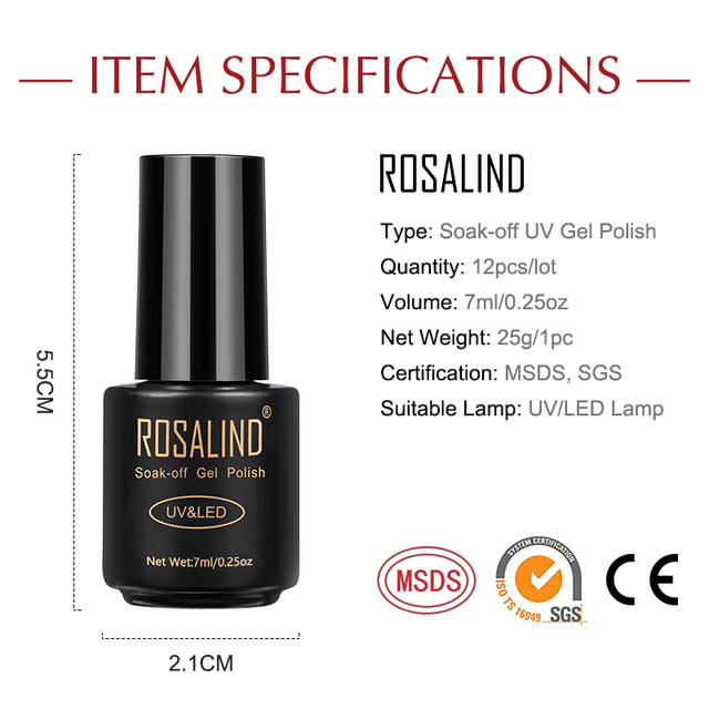 ROSALIND Nail Gel Polish Set For Manicure UV Colors Gel Varnish Semi Permanent Hybrid Nail Art Gel Polish Set & Kits 12PCS/LOT 3